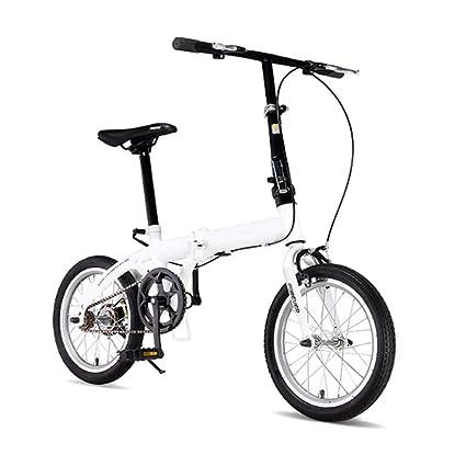 Grimk Bicicleta Plegable para Adultos Rueda De 16 Pulgadas Bici Mujer Retro Folding City Bike Velocidad
