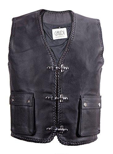 Gaudi-leathers Mens Leather Waistcoat Motorcycle Motorbike Moto Chopper Biker Vest L Black