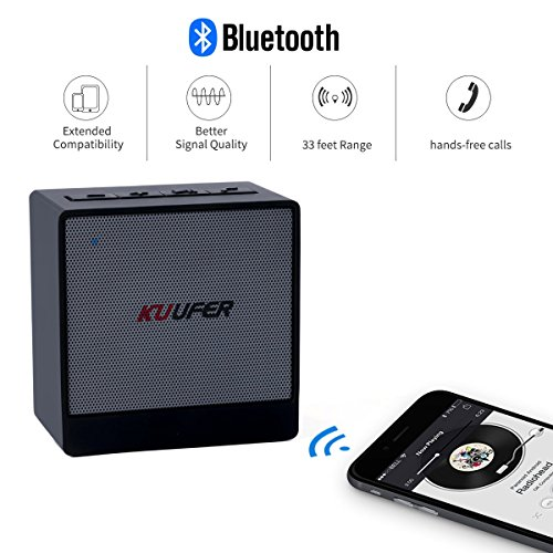Wireless Bluetooth Speaker,Built-in Microphone,Portable Bluetooth Speaker ands-free Call for Smartphones, MP3, PC, Cell Phones, iPhone 6S KUUFER-A1 (Black)