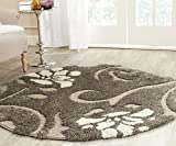 Safavieh Florida Shag Collection SG464-7913 Smoke and Beige Round Area Rug (4′ Diameter)