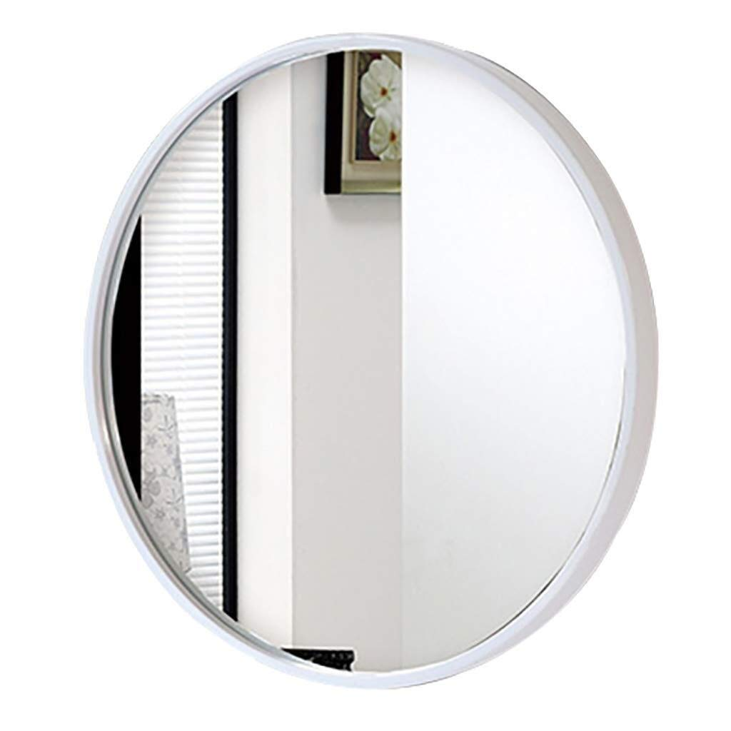 Beauty mirror Round Bathroom Mirror Modern Simplicity Iron Frame Wall Mounted Vanity Mirror with Wall Hanging Fixing Hardware White for Bathroom Washroom 4 Dressing mirror by Makeup Mirrors