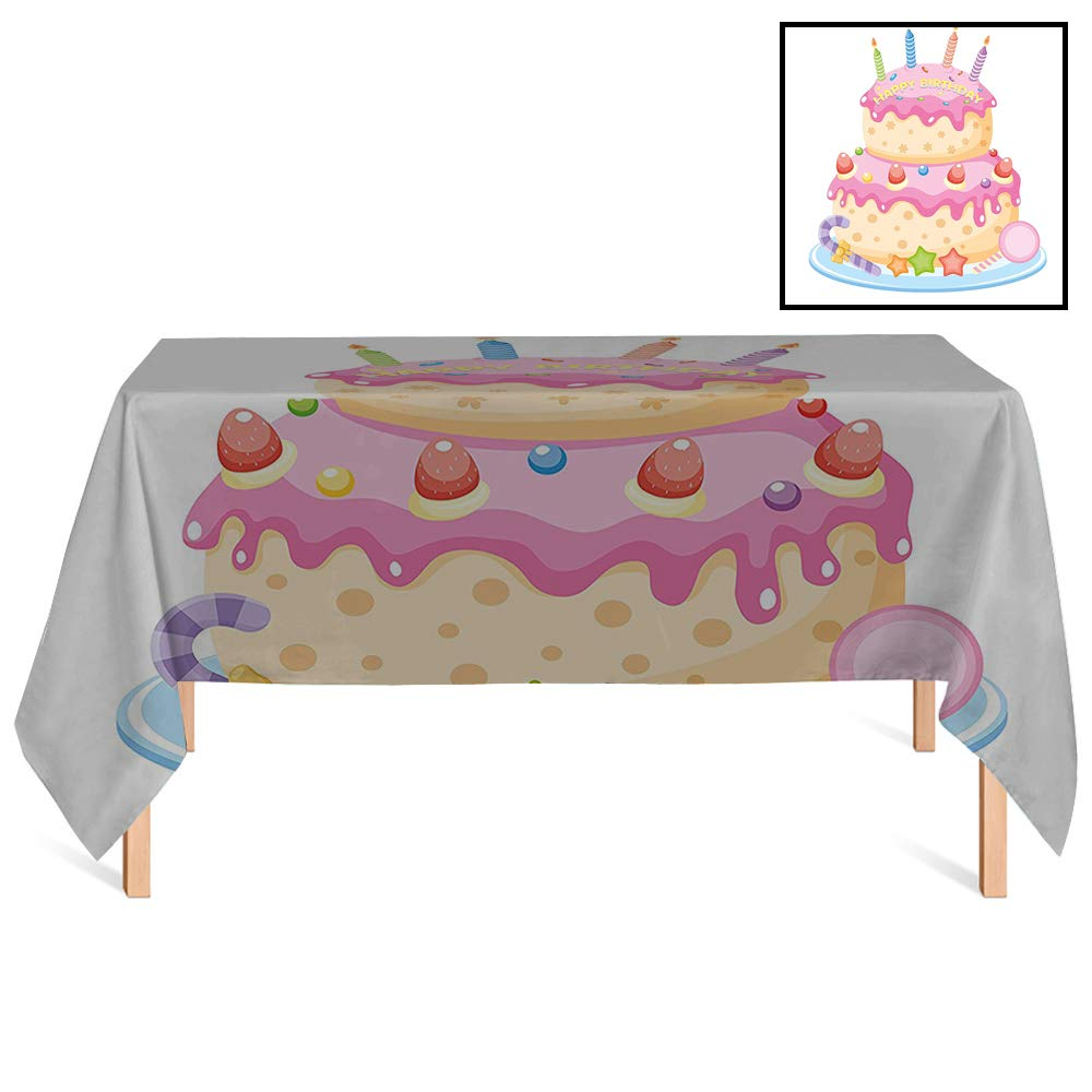 SATVSHOP Heavy Weight Cotton Canvas /60x120 Rectangular,Birthday rations for Kids Pastel Colored Birthday Party Cake with Candles and Candies Light Pink.for Wedding/Banquet/Restaurant. by SATVSHOP (Image #1)