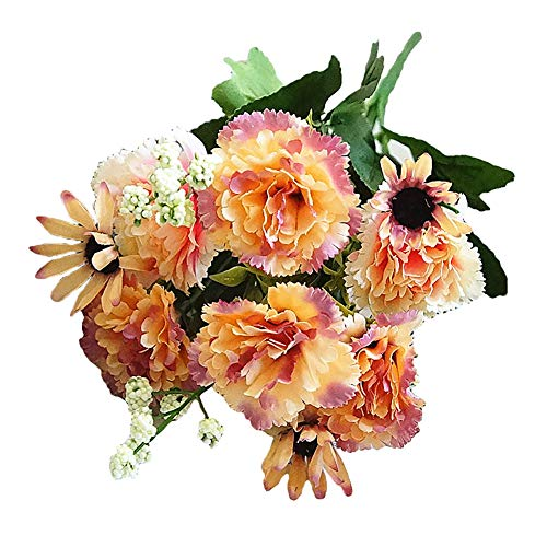 - HeZelect Artificial Carnation Daisy Flower,Artificial Flower,Fake Flower Greenery Plant Decoration for Office Living Room Home Desk Wedding Photography Prop Décor Cameo Brown