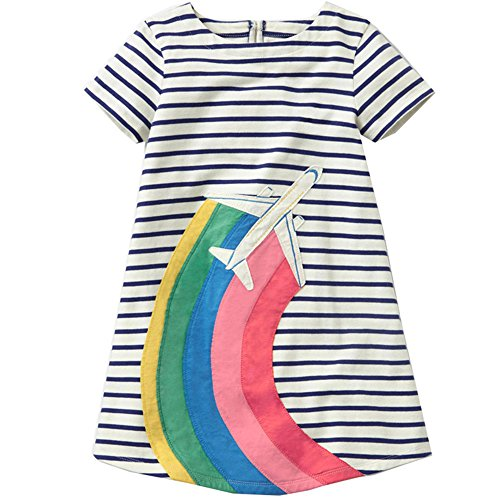 Baby Girls Dress Crew-neck Cotton Cartoon Kids Summer Dress (5T, Rainbow Plain) ()