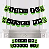 Big Dot of Happiness Game Zone - Pixel Video Game Party Bunting Banner - Party Decorations - Time to Level Up