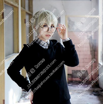 Price comparison product image Custom Blood Blockade Battlefront / black / William / Linen Gold / clos face short hair wig animation game