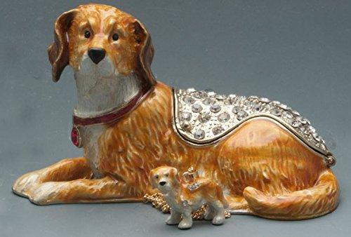 Trinket Plated Gold Silver Crystal (Treasures Jewelled Golden Retriever enameled trinket box)