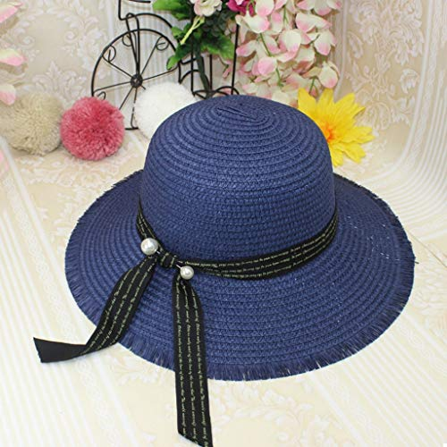 Paper Blue Awning (Xingxingzhige Straw Foldable Female Summer Beach hat Casual Flower hat Korean Version of The Tide Along The Sunscreen Awning (Color : Blue))