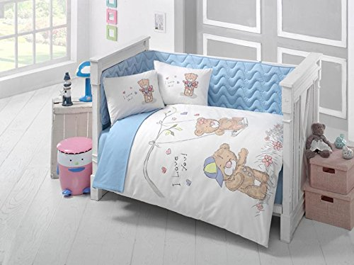 Baby Boys Crib Bedding Set with Bumper Delux 100% Cotton for Baby and Toddlers (Story) by Astrea Textiles