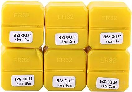 6pcs ER32 Ensemble de pinces /à ressort pour machine de gravure CNC et Outil de tour de fraisage Cl/é universelle 10-20mm Cl/é de machine de gravure CNC Outil de tour de fraisage