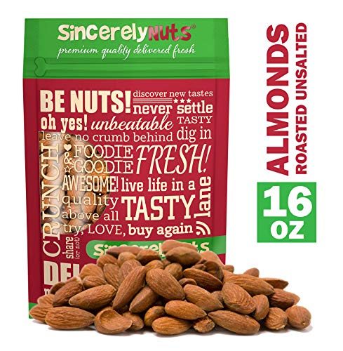 - Sincerely Nuts - Roasted Whole Unsalted Almonds   1 lb. Bag   Delicious Guilt Free Snack   Low Calorie, Vegan, Gluten Free   Gourmet Kosher Food   Source of Fiber, Protein, Vitamins and Minerals