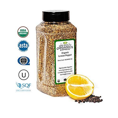 (HQOExpress | Organic Lemon Pepper Seasoning and Rub | 21 oz. Chef Jar)