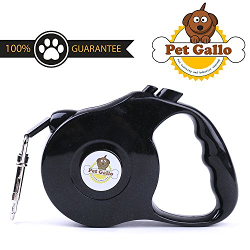 pet gallo Retractable Dog Leash, Extends to 16.5 feet (5m) with High Tensile Traction Rope. Waterproof and Durable for Medium Dogs up to 25 lbs (12kg). Lock with Double Keys, Guaranteed Satisfaction