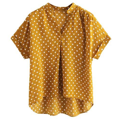 - Print Shirt,Toimoth Women Plus Size Short Sleeve Dot Print Casual Shirt Blouse Top(Yellow,XL)