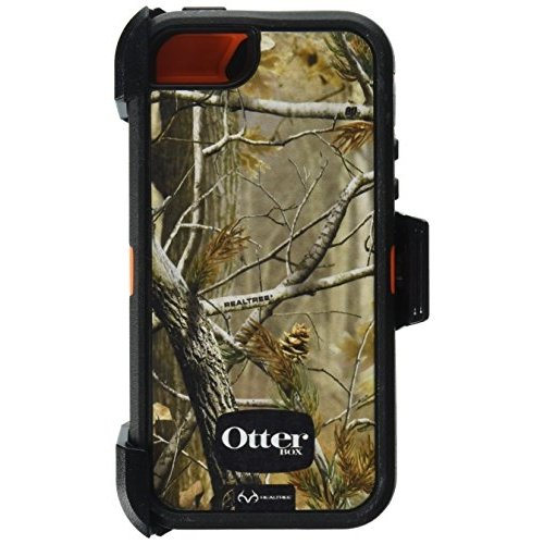 OtterBox Defender Case w/Holster for iPhone 5 (Only) - Retail Packaging - AP Blazed (Orange Camo)]()