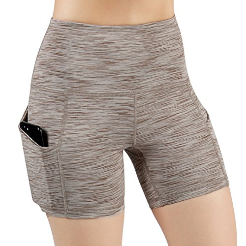t Pocket Yoga Short Tummy Control Workout Running Athletic Non See-Through Yoga Shorts,SpaceDyeBrown,Medium ()