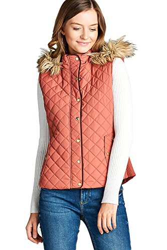 (Active USA Quilted Padding Vest with Fur Trimmed Hood (Dusty Pink-Small) )