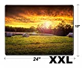MSD Extra Large Mouse Pad XXL Extended Non-Slip Rubber Large Gaming Desk Mat IMAGE ID: 3256991 Beautiful sunset a field with hay rounds producing brilliant and amaz