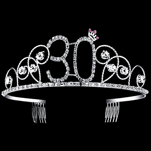 BABEYOND Crystal Tiara Birthday Crown Princess Crown Hair Accessories Silver Diamante Happy 30th Birthday (30 Birth) ()