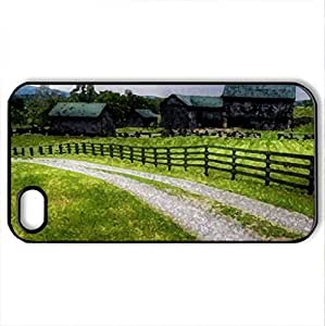 wonderful road to farm - Case Cover for iPhone 4 and 4s (Farms Series, Watercolor style, Black)