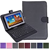"HDE Diamond Stitch Univeral Hard Leather Folding Folio Case Cover with Micro USB Keyboard for 7"" Tablet (Back)"