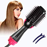 Admitrack One Step Hair Dryer & Volumizer, Hot Air Brush 3-IN-1 Negative Ions Hair Dryer, Curler and Straightener for All Hair Types (Black)