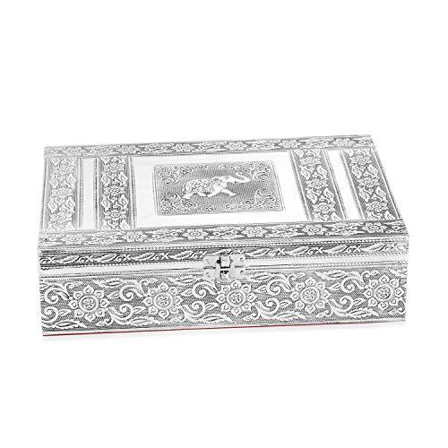 Handcrafted Aluminium Elephant Embossed 2 Tier Jewelry Organizer Box Storage 11x3x8