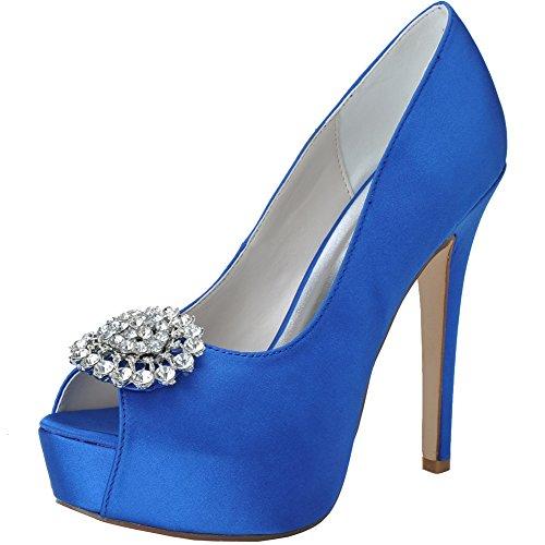 Loslandifen Womens Scarpe Da Sposa In Raso Con Strass, Scarpe Aperte Tacco Alto Da Sposa Blu