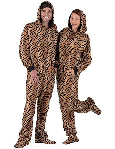 Footed Pajamas Family Matching Tiger Stripes Pet Pjs Fleece Hoodie- XXLarge