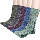 KONY Men's Trekking Hiking Socks, Cotton Moisture Wicking Thick Cushioned Outdoor Crew Socks, Mid...