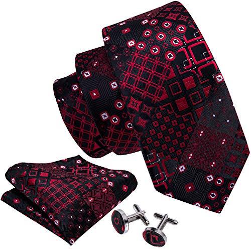 (Barry.Wang Ties for men Novelty Necktie Handkerchief Cufflinks Black Red)