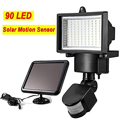 Sogrand Solar Lights,Motion Sensor Light,90LED LUX/SEN/TIME Setting,Solar Security Light,Solar Motion Light,for Wall,Patio,Garden,Deck,Shed,Lawn,Fence,Pathway and Driveway