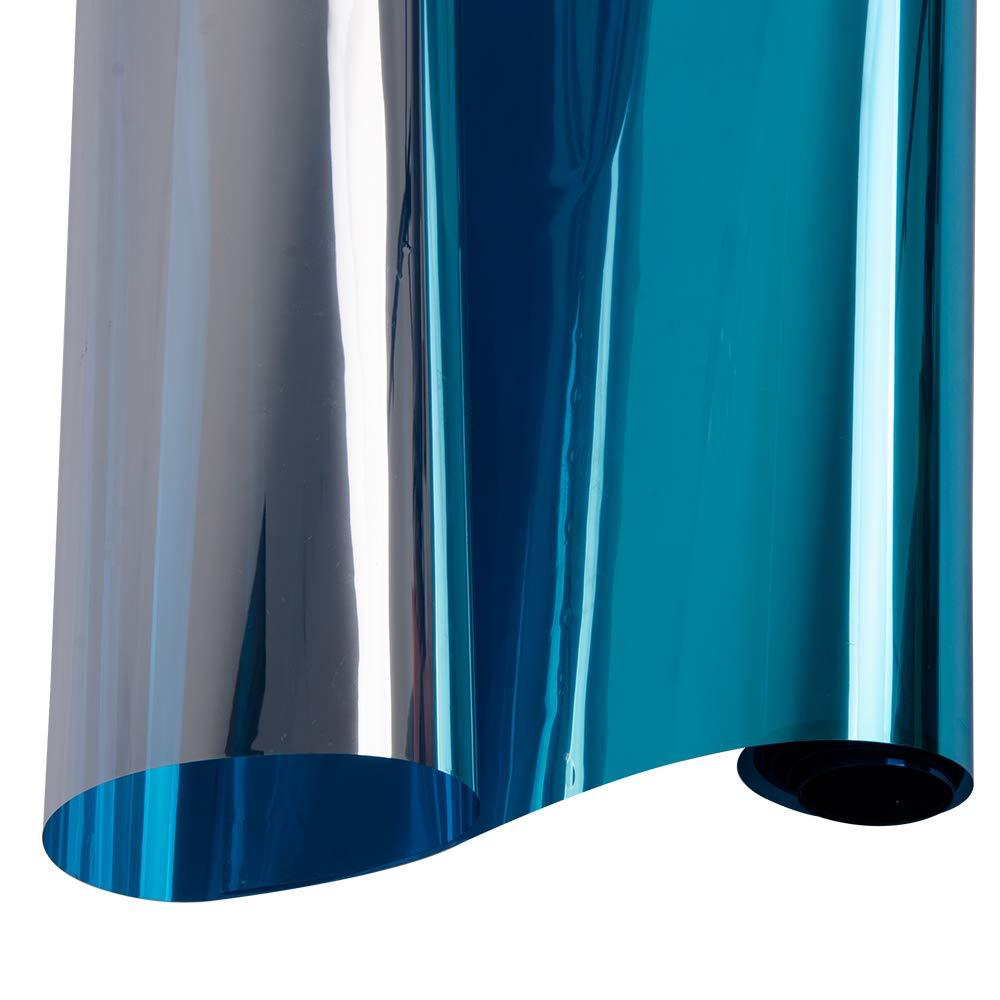 Hoho 152cmx50cm Daytime privacy Window film One Way specchio autoadesivo calore controllo anti UV tinta finestrino per casa e ufficio (blu)