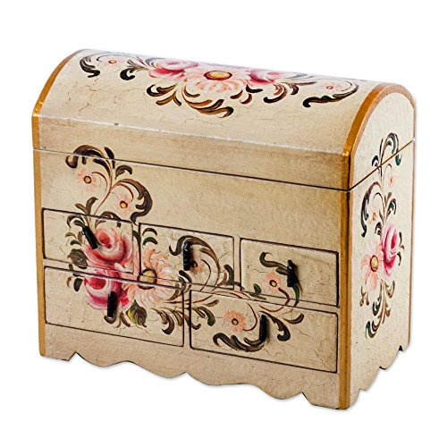 NOVICA Handcrafted White and Pink Mini Chest of Drawers Floral Wood Jewelry Box, Rose Bouquet' by NOVICA
