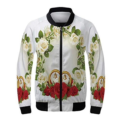 (Wedding Decorations Women's Windproof Jacket,Frame with White and Red Roses and Stylized Wedding Rings Romance for Outdoor Hiking,L)