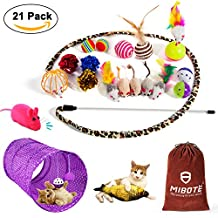 MIBOTE Cat Toys Variety Pack for Kitten, Cat Tunnel Catnip Fish Interactive Feather Teaser Wand Toy Fluffy Mouse, Crinkle Balls Bells for Cat, Puppy, Kitty - 21 PCS