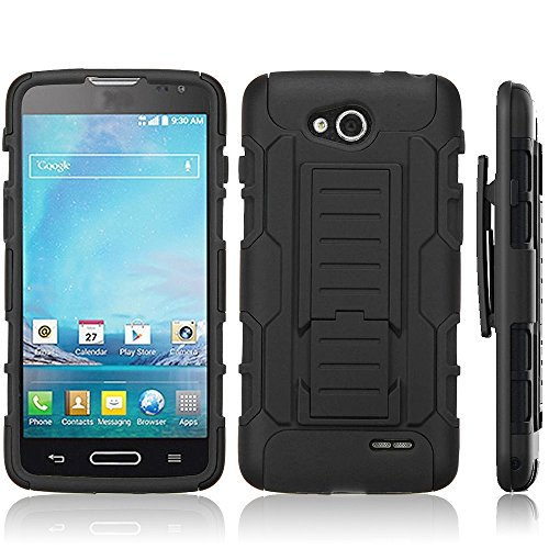 Telegaming Black Armor Impact Hard Hybrid Rugged Case Cover Holster Belt Clip KickStand For LG Optimus L90 - Lg A For L90 Case