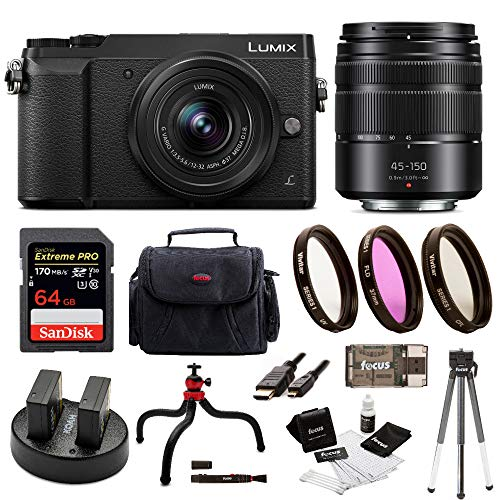 Panasonic Lumix GX85 Mirrorless Camera (Black) Bundled with 12-32mm and 45-150mm Lenses, 64GB SD Card, and Accessory Bundle (Mirrorless Camera With Viewfinder And Built In Flash)