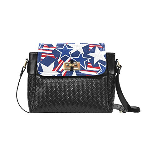 Fashion Women And Girls Usa Stars And Stripes Pattern Woven Leather Crossbody Bag/shoulder Bag/tote Bag For Women Girls Cr-46 Unique Debora