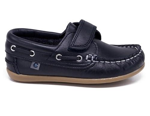 Naúticos de niño en napa de Color Marino con Velcro, de Conguitos - Azul Marino, 28: Amazon.es: Zapatos y complementos