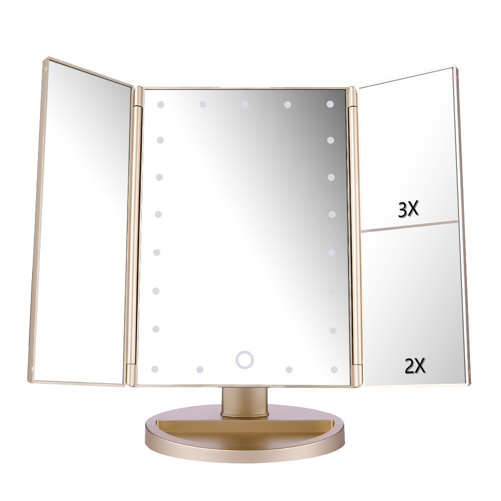 DeWEISN Tri-Fold Lighted Vanity Makeup Mirror with 21 LED Lights, Touch Screen and 3X/2X/1X Magnification Mirror, Two power Supply Mode Tabletop Makeup Mirror,Travel Cosmetic Mirror(Gold)