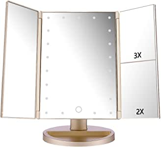DeWEISN Tri-Fold Lighted Vanity Makeup Mirror with 21 LED Lights, Touch Screen and 3X/2X/1X Magnification Mirror, Two Power Supply Mode Tabletop Makeup Mirror,Travel Cosmetic Mirror (Gold)