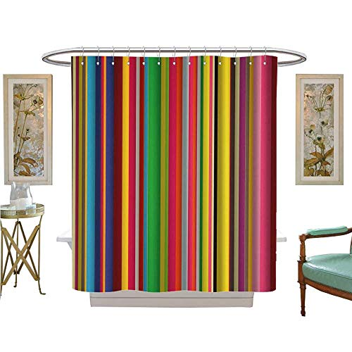 luvoluxhome Shower Curtain Customized Stripe Colors on a Window pane Patterned Shower Curtain W48 x L72
