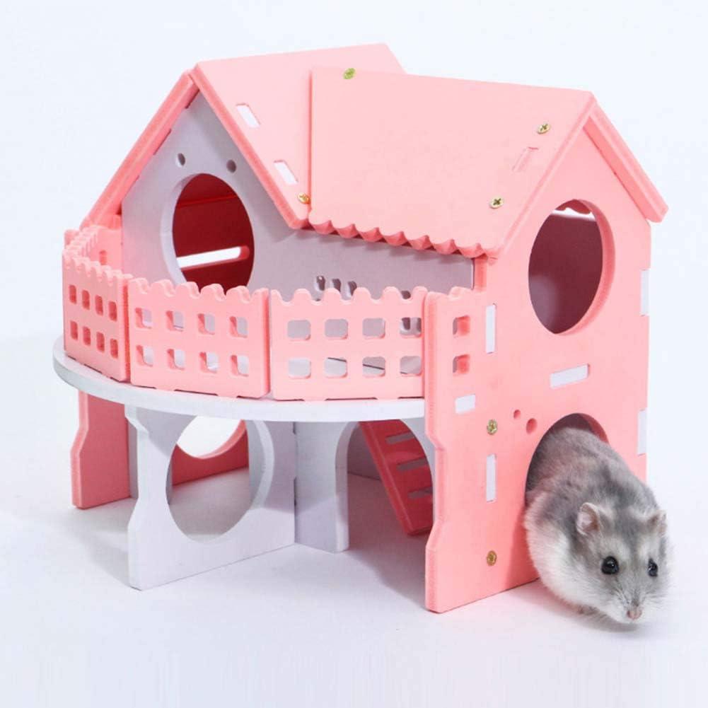 Jaula para Dormir para Ratones, Ratas, Ratas, Rata Nido de Madera de Doble Cubierta de Conejo, Rata de hámster, casa de la Villa, Jaula para Mascotas pequeña, de Happyhouse009