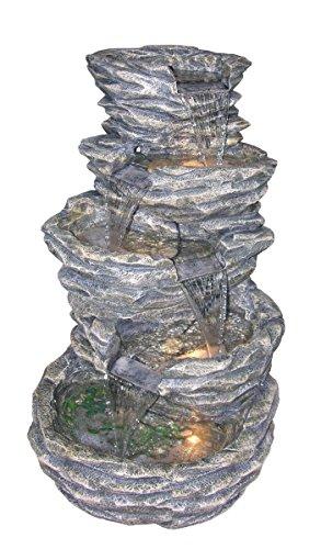 Four Level Rock Pond Fountain - Plutus Brands 5-Level Rock Pond Fountain with 4 Halogen Lights