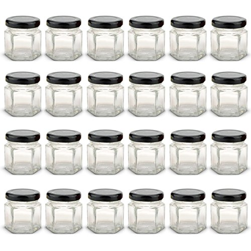 1.5 oz Hexagon Mini Glass Jars with BLACK Lids and Labels