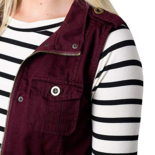 Veste Gilet poches Pour Stretch Manches femme Couleur De Sans Unie Femme Vin Multi Rouge Avec qqWrTa1zw