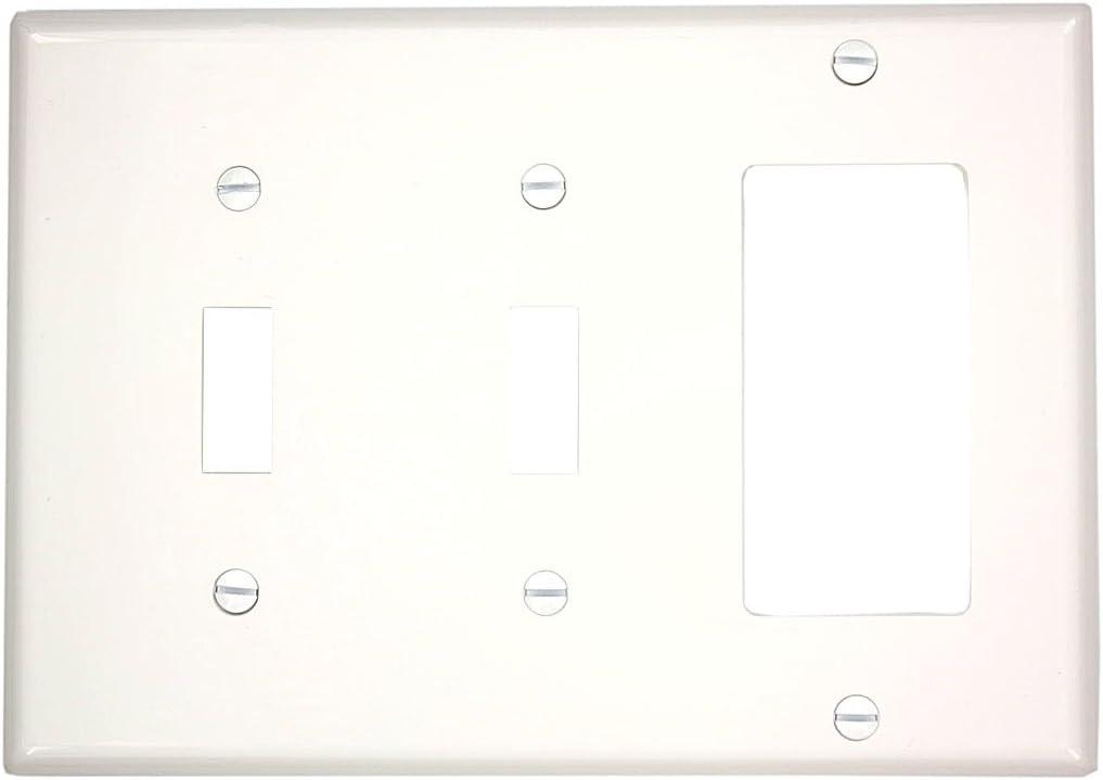 Leviton 80745-W 3-Gang 2-Toggle 1-Decora/GFCI Device Combination Wallplate, Standard Size, White