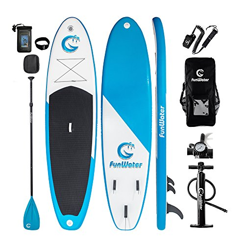 FUNWATER All Round Paddle Board 11'length 34'' width 6'' thick Inflatable Sup with Adjustable Paddle,ISUP Travel Backpack,Leash,High Pressure Pump w/gauge and Water Proof Phone Case by FUNWATER