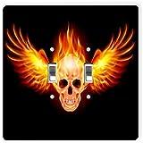 Rikki Knight 1071 Double Toggle Fire Skull Design Light Switch Plate